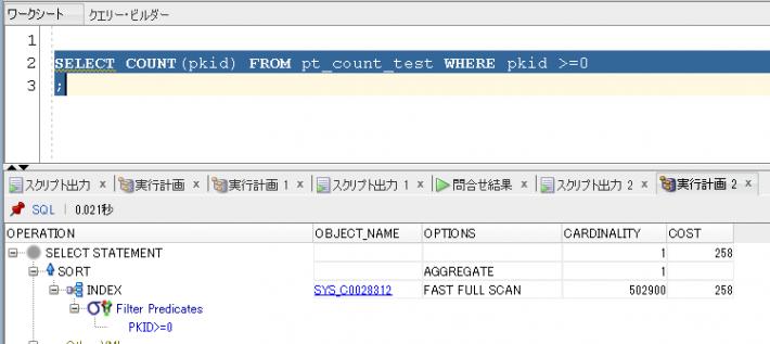 COUNT(PK列)でWHERE句が入っている場合(INDEX使用)
